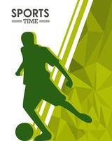 atletisch silhouet dat voetbal oefent vector