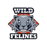 tijger hoofd dier embleem pictogram met team katachtigen belettering