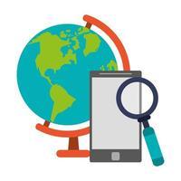 vergrootglas, smartphone en wereldbol vector