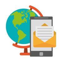 globe, smartphone en mail vector