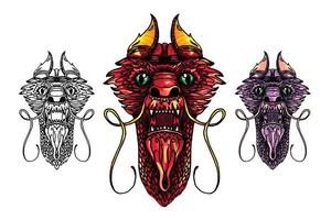 drakenkop tattoo vector