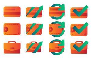 zakelijke en financiële platte kleurovergang pictogrammen