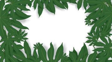 groene bladeren vector achtergrond. groene bladeren grensruimte voor tekst.