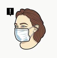 vrouwengezicht in ademhalingsmasker vector