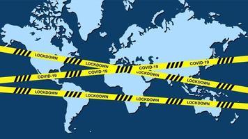 wereldwijde lockdown-kaart met gele waarschuwingstape vector