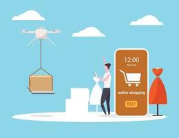 levering drone om online te winkelen op smartphone, vector illustratie vlakke stijl