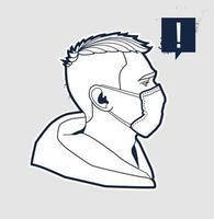man gezicht in ademhalingsmasker vector