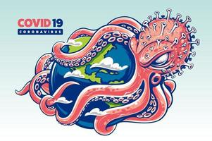 coronavirus in de vorm van octopus omhult de wereld met zijn tentakels vector
