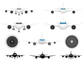 vliegtuig vooraanzicht vector ontwerp illustratie set geïsoleerd op de achtergrond