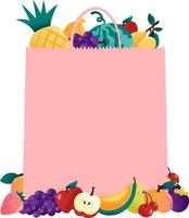 leuke zomer fruit roze papieren zak copyspace vector