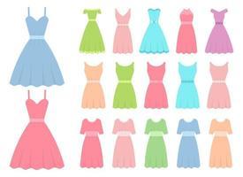 jurk in platte ontwerp vector illustratie ontwerpset geïsoleerd op een witte achtergrond