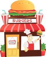 cartoon hamburgerwinkel met chef-kok bij het raam vector