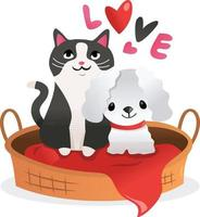 cartoon kitten puppy liefde huisdier bed vector