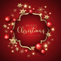 Decoratieve Kerstmis en Nieuwjaarachtergrond met sneeuwvlokken en