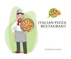 pizza chef-kok restaurant concept vector