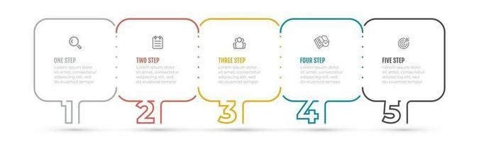 tijdlijn info grafische elementen ontwerpen met dunne lijn concept en aantal opties. bedrijfsprocesstappen met 5 opties. vector illustratie.