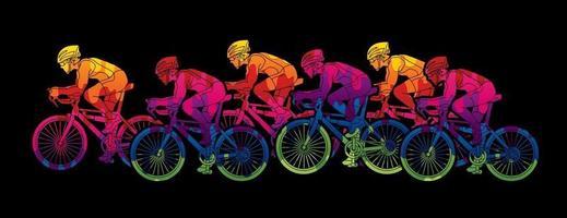 groep fietsen ontwerp met kleurrijke grunge brush vector