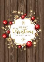 Kerst ornamenten en sneeuwvlokken op houtstructuur vector