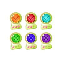 set van grappige star jelly game ui-knop ja en nee vinkjes voor gui asset elementen vector illustratie