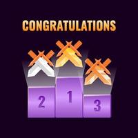 set van fantasy game ui leaderboard award met broadsword rank medailles pictogram voor gui asset elementen vector illustratie