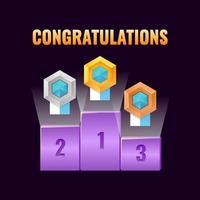 set van fantasy game ui leaderboard award met gouden, zilveren en bronzen rang medaille pictogram voor gui asset elementen vector illustratie