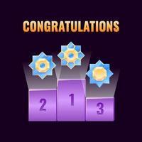 set van fantasy game ui leaderboard award met gouden afgeronde rang medailles pictogram voor gui asset elementen vector illustratie
