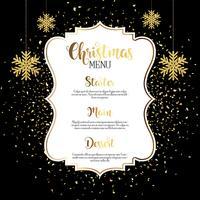 Kerstmenu ontwerp met gouden confetti