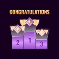 set van fantasy game ui leaderboard award met zeshoekige rang medailles pictogram voor gui asset elementen vector illustratie