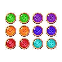 set van grappige violet gelei game ui-knop ja en nee vinkjes voor gui asset elementen vector illustratie