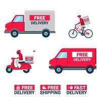 bezorgdiensten concept. magazijn, vrachtwagen, scooter en fietskoerier. vector