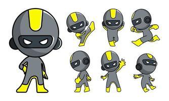 schattige robot ninja cartoon tekenset vector