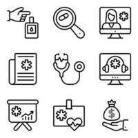 pakket medische en online raadpleging lineaire pictogrammen