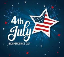 4 juli gelukkige onafhankelijkheidsdag met sterren en vlag van de vs vector