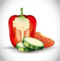 verse rode paprika met gesneden komkommer en halve tomaat, biologische groenten vector