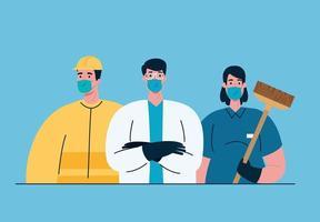 essentiële werknemers met gezichtsmaskers over coronavirus-pandemie vector