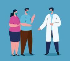 strijd tegen het coronavirusconcept met mensen die gezichtsmaskers dragen vector