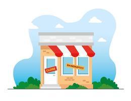 failliete en gesloten winkel vector