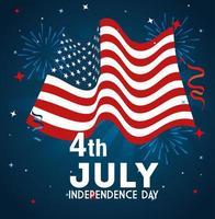 4 juli gelukkige onafhankelijkheidsdag met vlagdecoratie vector