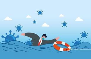 coronaviruscrash, covid 19 economie instort, zakenman probeert te zwemmen vector