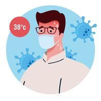 man met een gezichtsmasker met hoge koorts symptoom van coronavirus