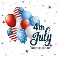 4 juli gelukkige onafhankelijkheidsdag met ballonnen vector