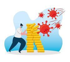 coronavirus economie stort in met wanhopige vrouw vector