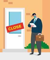 coronavirus crash, covid 19 economie stort in met droevige zakenman vector