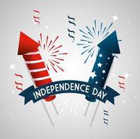 4 juli gelukkige onafhankelijkheidsdag met vuurwerk en decoratie vector