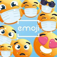 emoji's die gezichtsmaskers achtergrond dragen