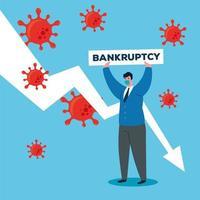 coronavirus economie stort in met droevige zakenman vector