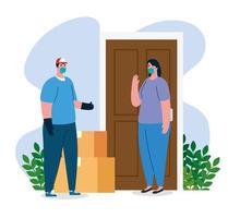 veilige contactloze levering aan huis om de verspreiding van coronavirus 2019 ncov te voorkomen vector
