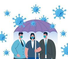 zakenmensen die zichzelf beschermen tegen coronavirus vector