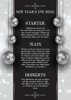 Oudejaarsavond menu ontwerp vector