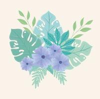 bloemen en bladeren op pastelkleuren